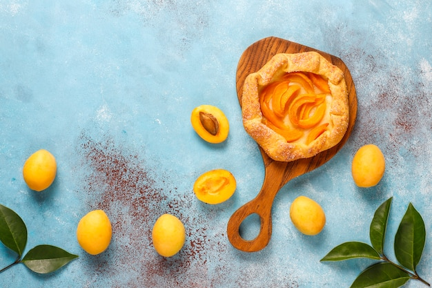 Homemade rustic apricot galettes with fresh organic apricot fruits.