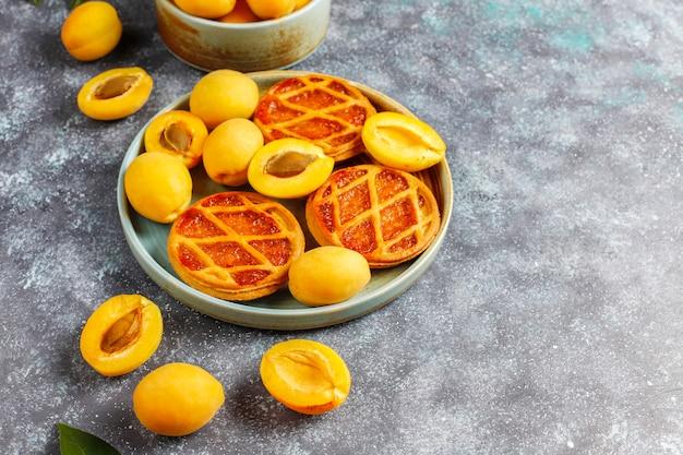 Mini torta o crostate rustiche casalinghe dell'albicocca con i frutti freschi dell'albicocca.