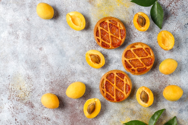 Homemade rustic mini apricot tarts with fresh apricot fruits