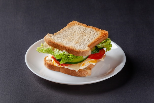 Homemade sandwich made of toast bread.