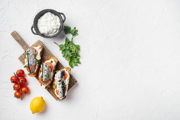 Homemade sardine sandwiches with ricotta set, on white stone table background, top view flat lay, with copy space for text