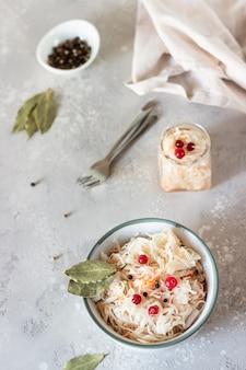 Homemade sauerkraut fermented food sauerkraut with cranberry