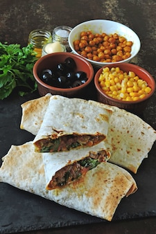 Homemade shawarma with vegetables. vegan shawarma. middle eastern style.