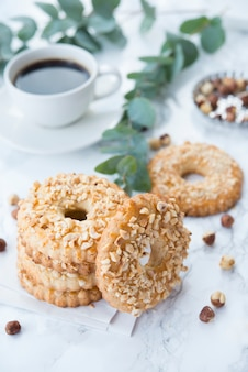 Homemade shortbread with nuts, shortbread rings with nuts