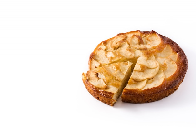 Homemade slice apple pie isolated on white. copy space