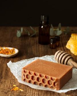 Homemade soap arrangement high angle