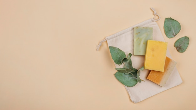 Homemade soap blocks copy space