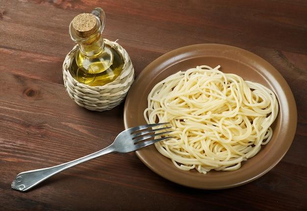 Homemade spaghetti closeup home cooking