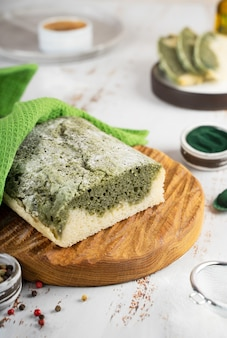 Homemade spirulina bread made from glutenfree rice and flax flour superfoods concept wellness and