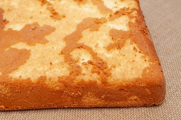 Homemade sponge cake in portuguese pao de lo bottom part of the baked cake dough