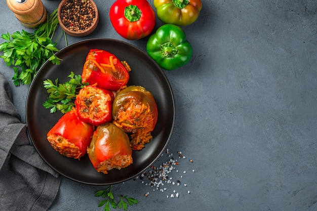 Homemade stewed pepper stuffed with turkey rice and vegetables healthy food