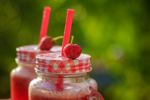 Homemade strawberry lemonade in glasses