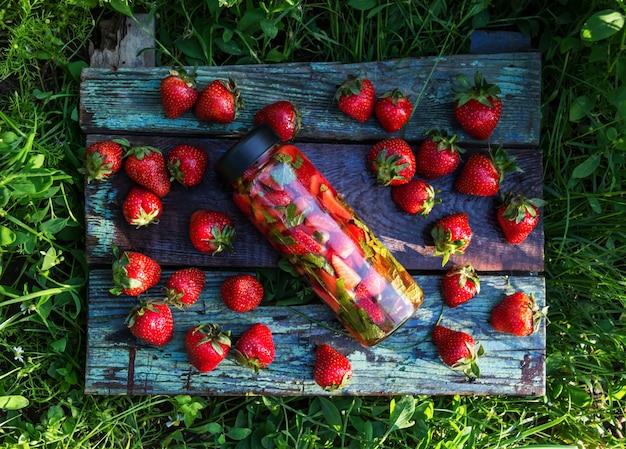Homemade strawberry mojito top view