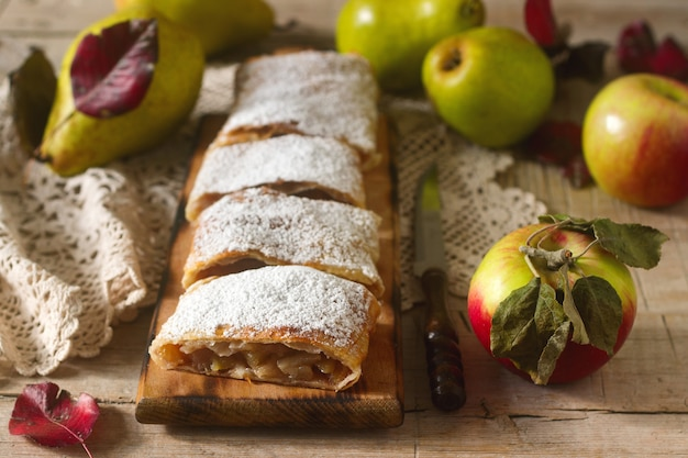 Homemade strudel with apples and pears.