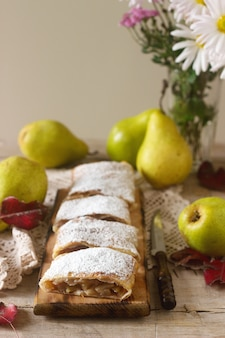 Homemade strudel with pears.