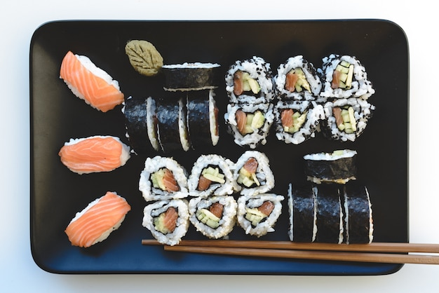 Homemade sushi set on plate