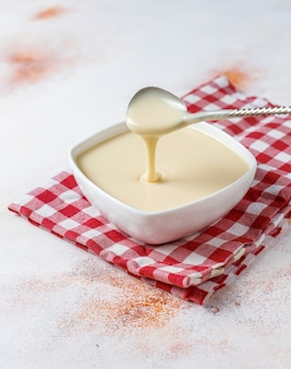 Homemade sweet condensed milk.