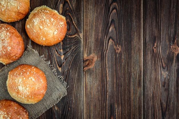 Homemade sweet yeast buns with apple jam