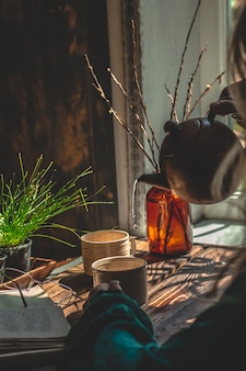 Homemade tea atmosphere brown background