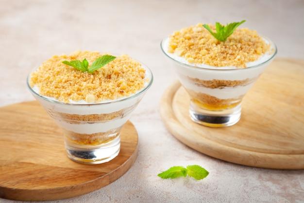 Homemade tiramisu italian dessert souffle with cream