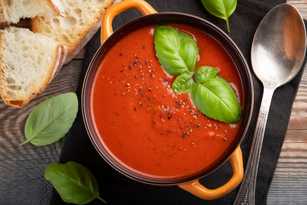 Homemade tomato soup with basil.
