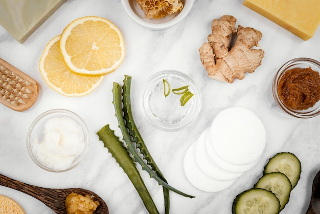 Homemade treatment ingredients flat lay