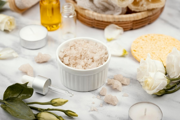 Homemade treatment ingredients high angle