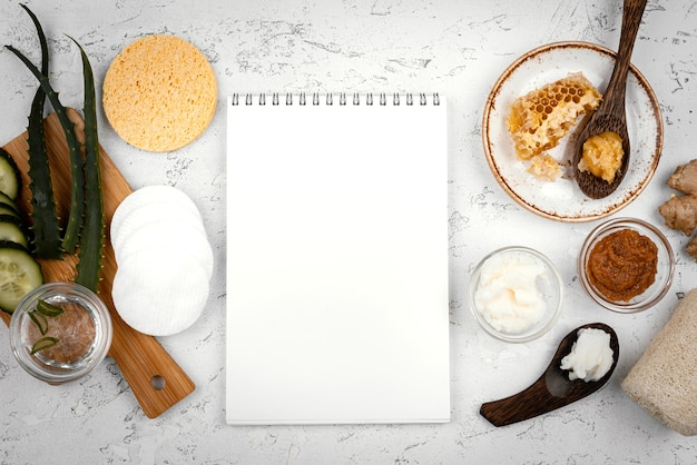 Homemade treatment ingredients and notebook