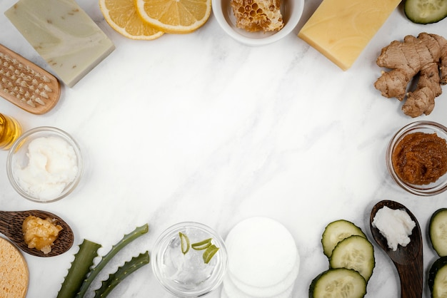 Homemade treatment ingredients top view