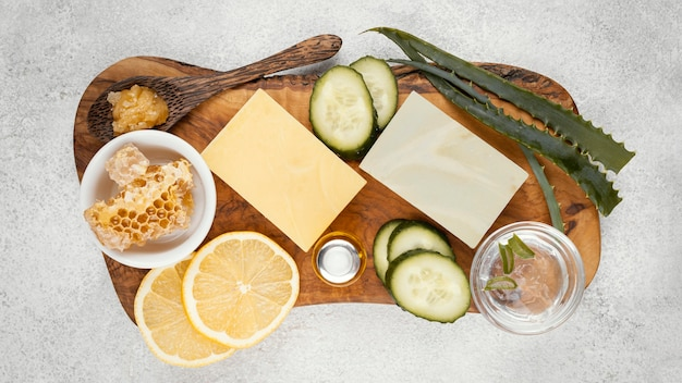 Homemade treatment ingredients above view