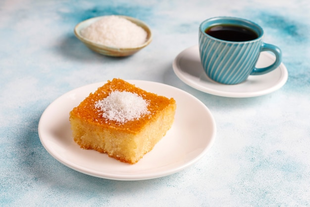 Homemade turkish dessert semolina cake
