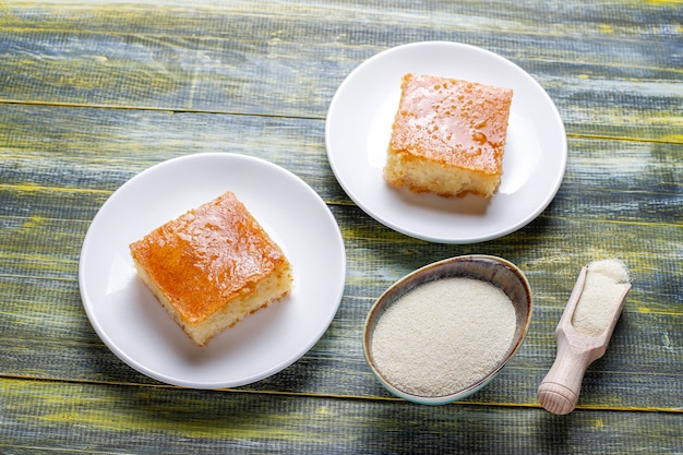 Homemade turkish dessert semolina cake.