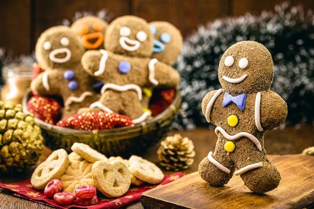 Homemade vegan biscuit made with frosting, brown sugar and poop milk, fun gingerbread man