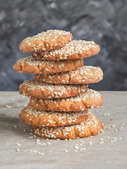 Homemade vegan tahini cookies in stack