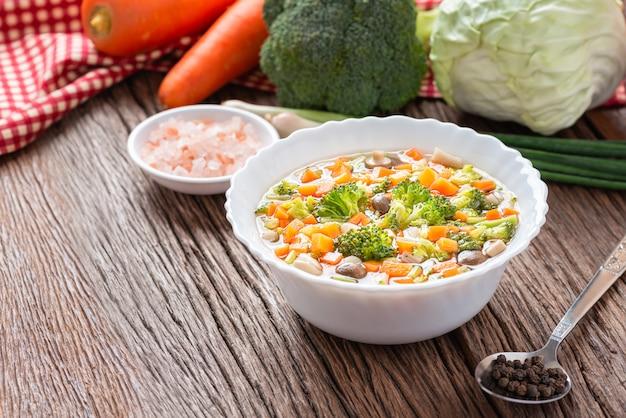 Homemade, vegetable soup with ingredient veggie. diet healthy vegetarian food.
