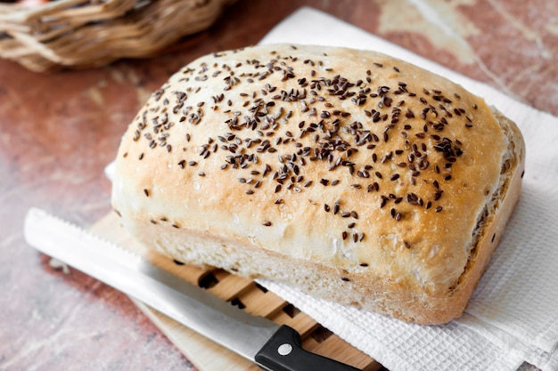 Homemade wheat bread with flax seeds