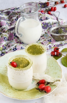 Homemade yogurt with matcha tea