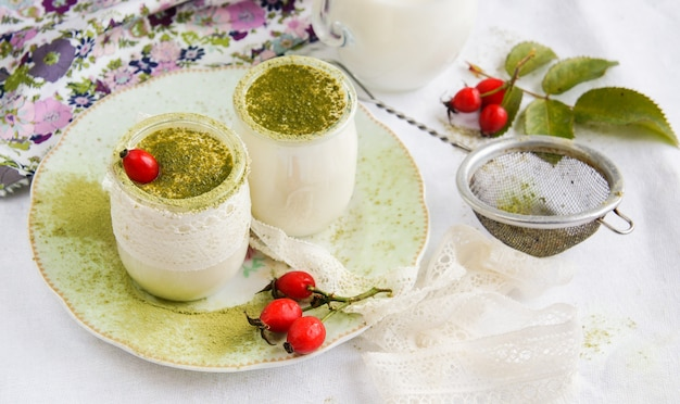 Homemade yogurt with matcha tea