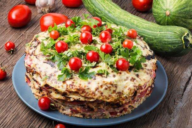 Homemade zucchini pie