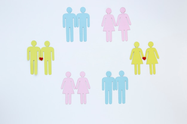 Homosexual couples icons on table