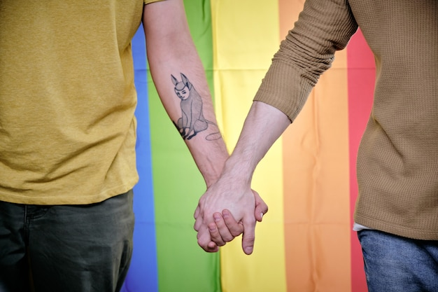 Homosexual men holding hands when standing against rainbow pride flag