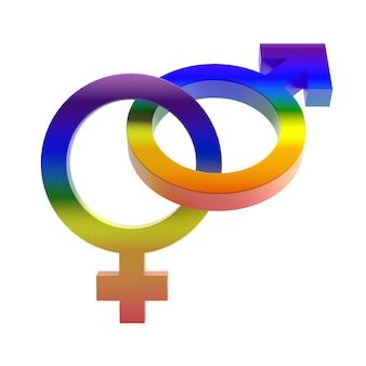 Гомосексуальные символы, изолированные на белом фоне. 3d рендеринг