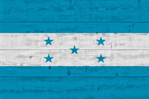 Honduras flag painted on old wood plank