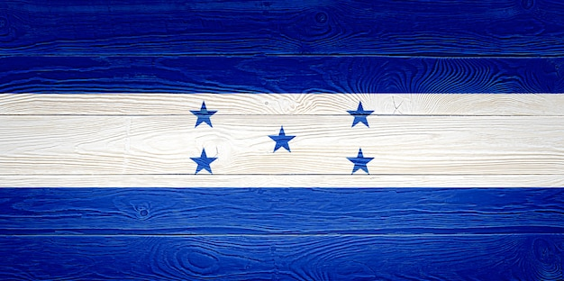 Honduras flag painted on wooden planks