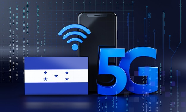 ホンジュラスは5g接続コンセプトの準備ができています。 3dレンダリングスマートフォン技術の背景