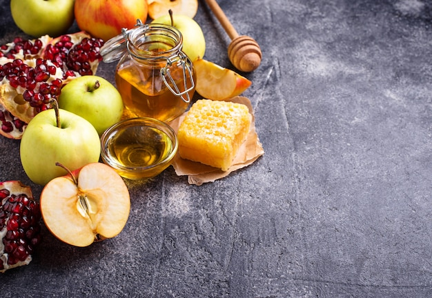 Honey, apple and pomegranate for rosh hashana
