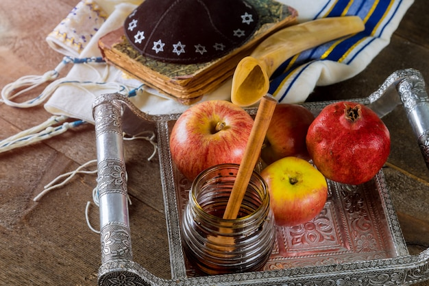 Honey, apple and pomegranate traditional holiday yom kippur and rosh hashanah jewish holiday