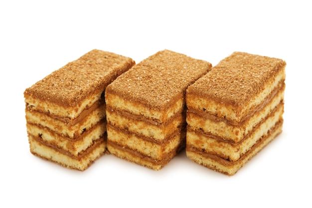 고립 된 연유와 꿀 비스킷 케이크