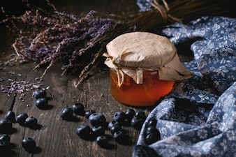 Honey, blueberries and lavender