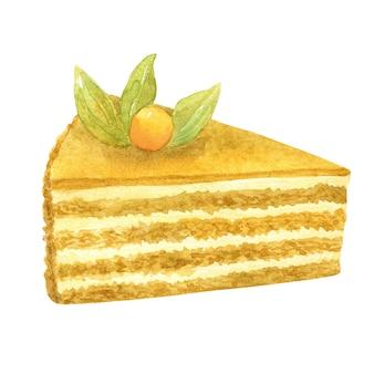 はちみつケーキ。装飾としてベージュのビスケット、クリーム、ベリー。手描きの水彩イラスト。白い壁に隔離。